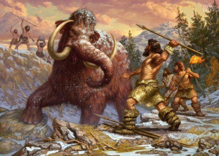Человек и мамонт