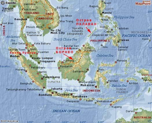 Расположение острова Борнео